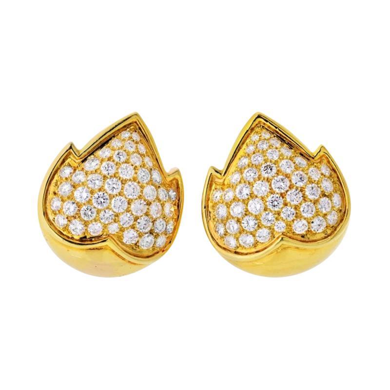 Van Cleef Arpels VAN CLEEF ARPELS 18K YELLOW GOLD 4 50 CARAT DIAMOND EARRINGS
