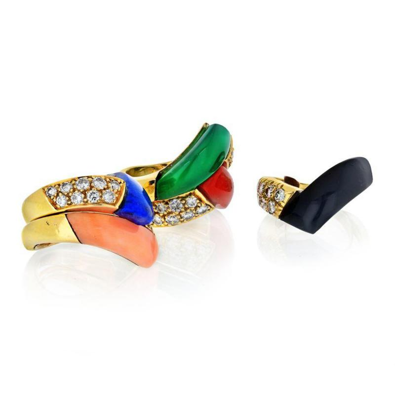 Van Cleef Arpels VAN CLEEF ARPELS 18K YELLOW GOLD DIAMONDS MULTICOLOR GEM STACK RING