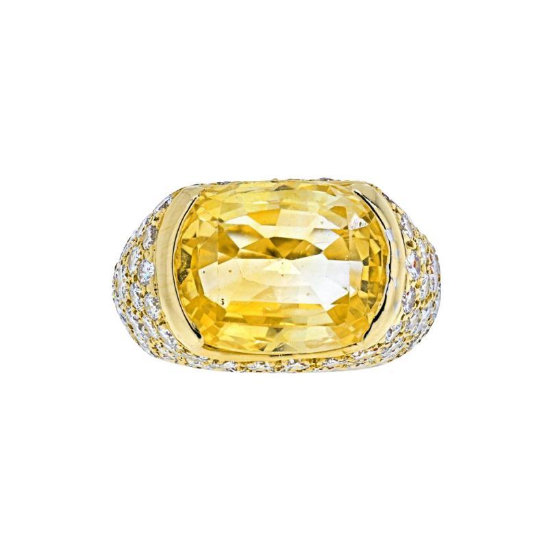 Van Cleef Arpels VAN CLEEF ARPELS 18K YELLOW GOLD OVAL CUT YELLOW SAPPHIRE PAVE DIAMOND RING