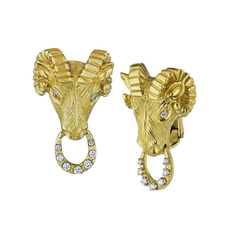 Van Cleef Arpels VAN CLEEF ARPELS 18K YELLOW GOLD RAM HEAD 0 50 CARAT DIAMOND CLIP ON EARRINGS