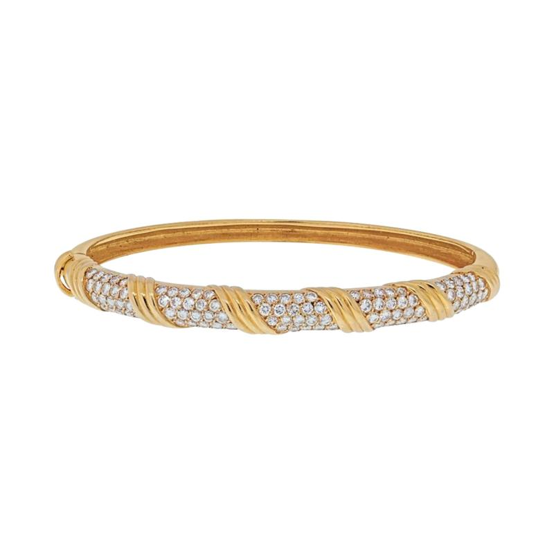Van Cleef Arpels VAN CLEEF ARPELS 18K YELLOW GOLD VINTAGE DIAMOND HINGED BANGLE BRACELET