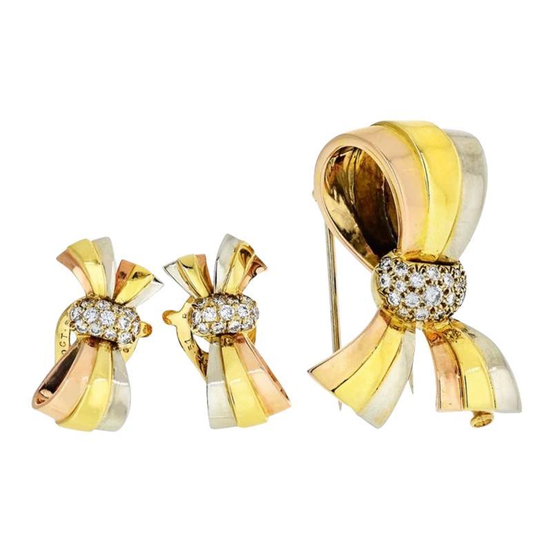 Van Cleef Arpels VAN CLEEF ARPELS BOW 18K TRI COLOR EARRINGS AND BROOCH DIAMOND JEWELRY SET