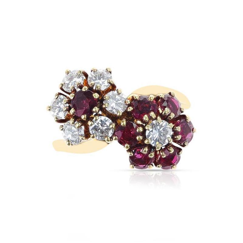 Van Cleef Arpels VAN CLEEF ARPELS DOUBLE FLORAL RUBY AND DIAMOND TOI ET MOI RING 18K YELLOW