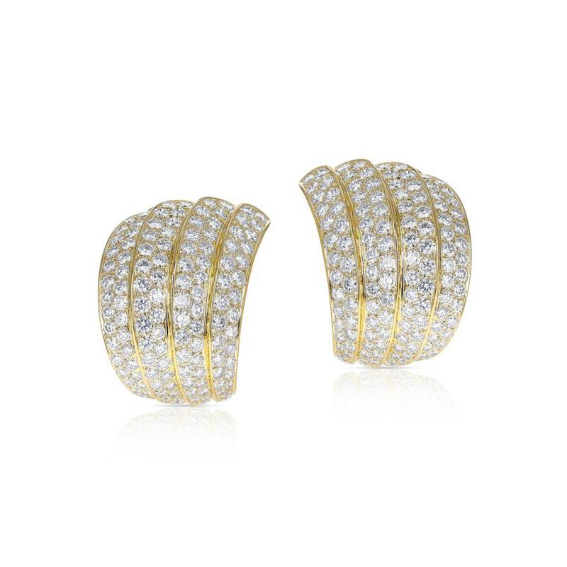 Van Cleef Arpels VAN CLEEF ARPELS FOUR CURVE COCKTAIL EARRINGS WITH 12 CT DIAMONDS 18K YELLOW