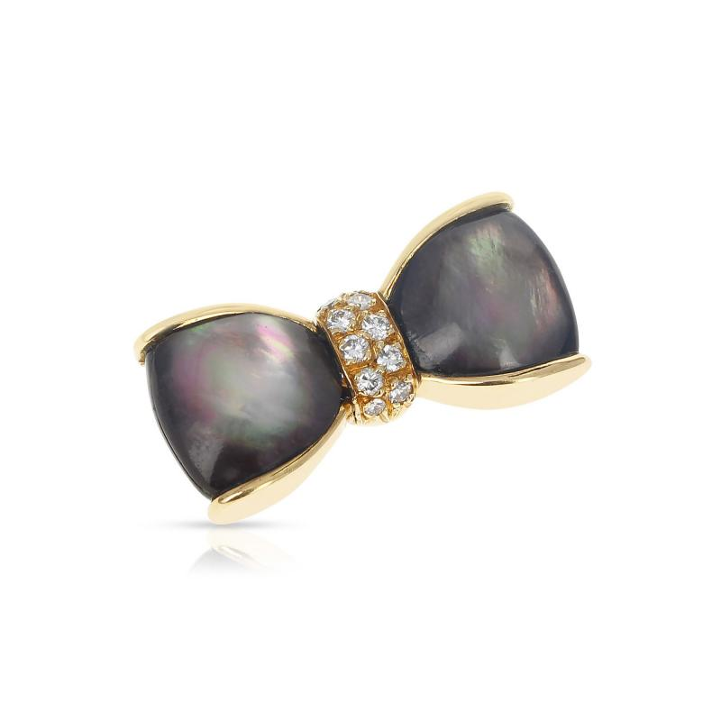 Van Cleef Arpels VAN CLEEF ARPELS LABRADORITE AND DIAMONDS BOW PIN AND BROOCH 18K YELLOW