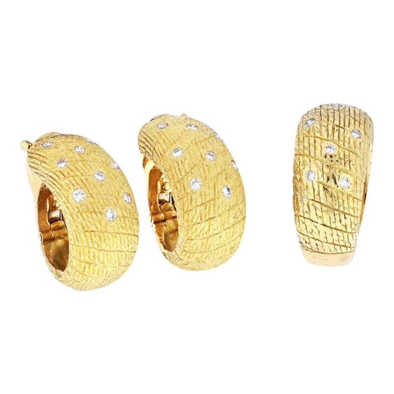 Van Cleef Arpels VCA 18K YELLOW GOLD 1970S DIAMOND EARRINGS AND A RING JEWELRY SET
