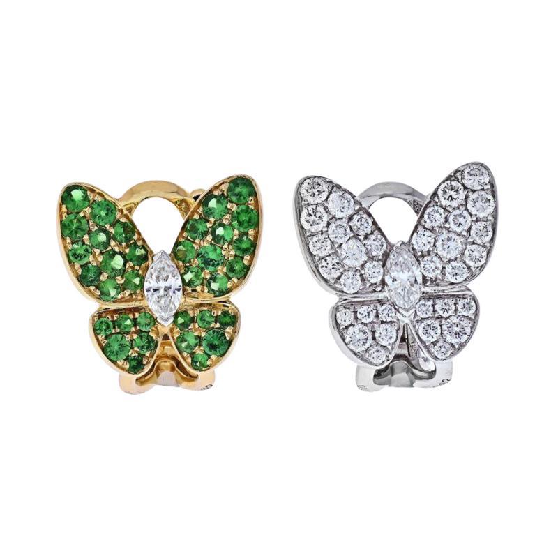 Van Cleef Arpels VCA 18K YELLOW GOLD FLYING BEAUTIES DIAMONDS AND TSAVORITE BUTTERFLY EARRINGS