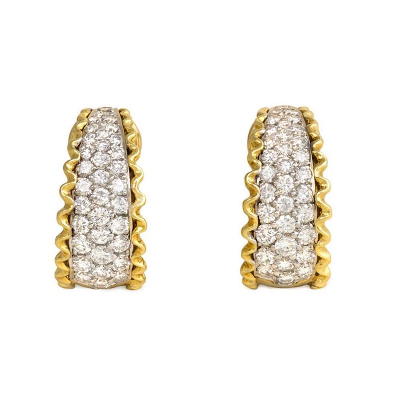 Van Cleef Arpels Van Cleef Arpels 1970s Gold and Diamond Front Facing Hoop Earrings