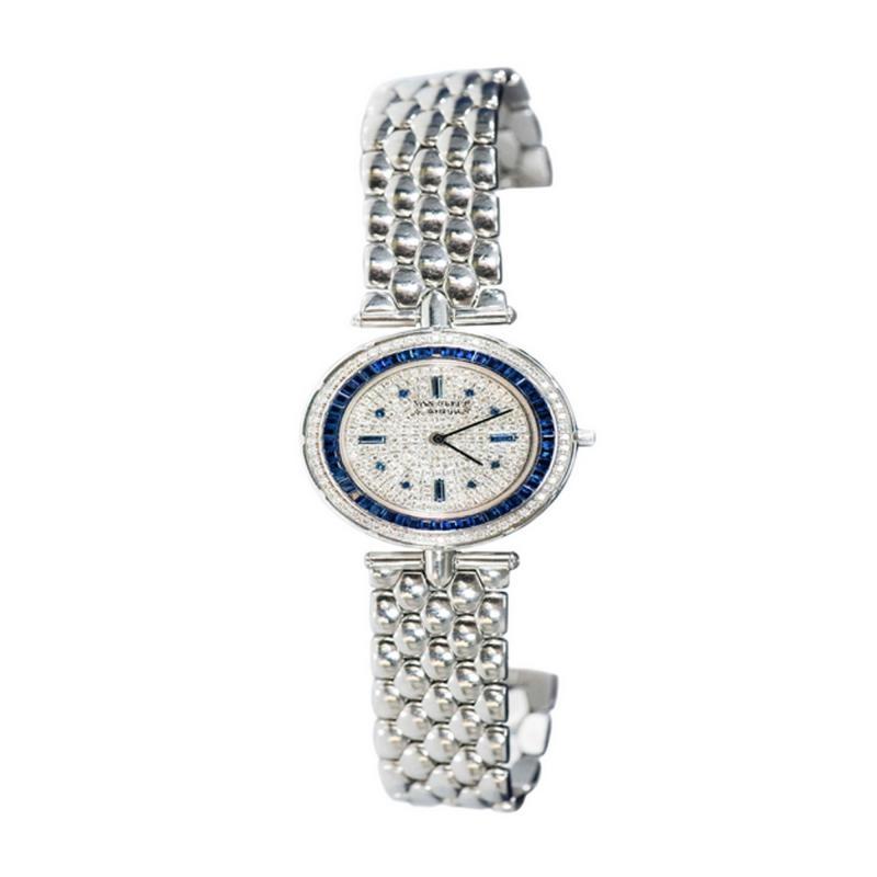Van Cleef Arpels Van Cleef Arpels 1990s 18k Gold Pave Diamond Dial Sapphire Bracelet Watch
