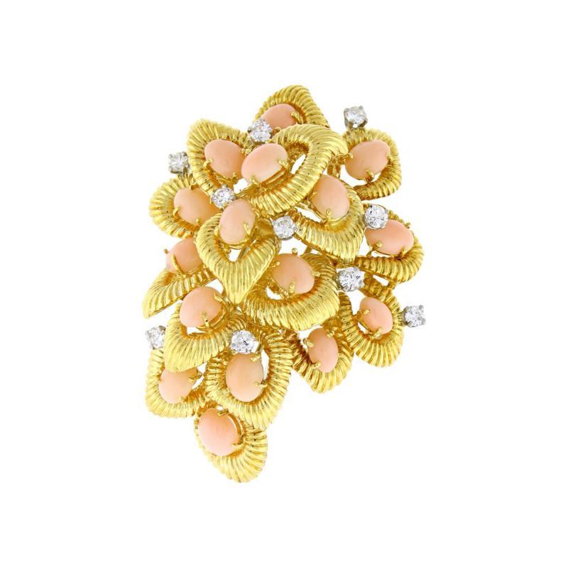 Van Cleef Arpels Van Cleef Arpels Coral and Diamond Brooch