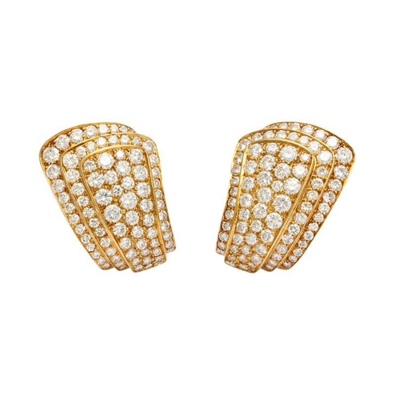 Van Cleef Arpels Van Cleef Arpels Diamond Earclips in 18K Gold
