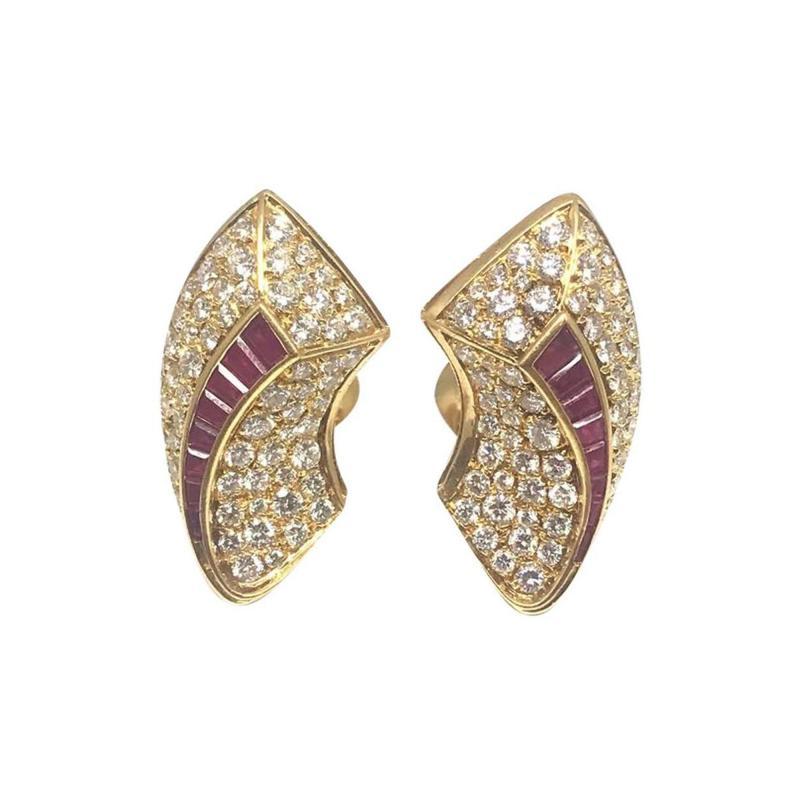 Van Cleef Arpels Van Cleef Arpels Diamond Ruby Gold Earrings