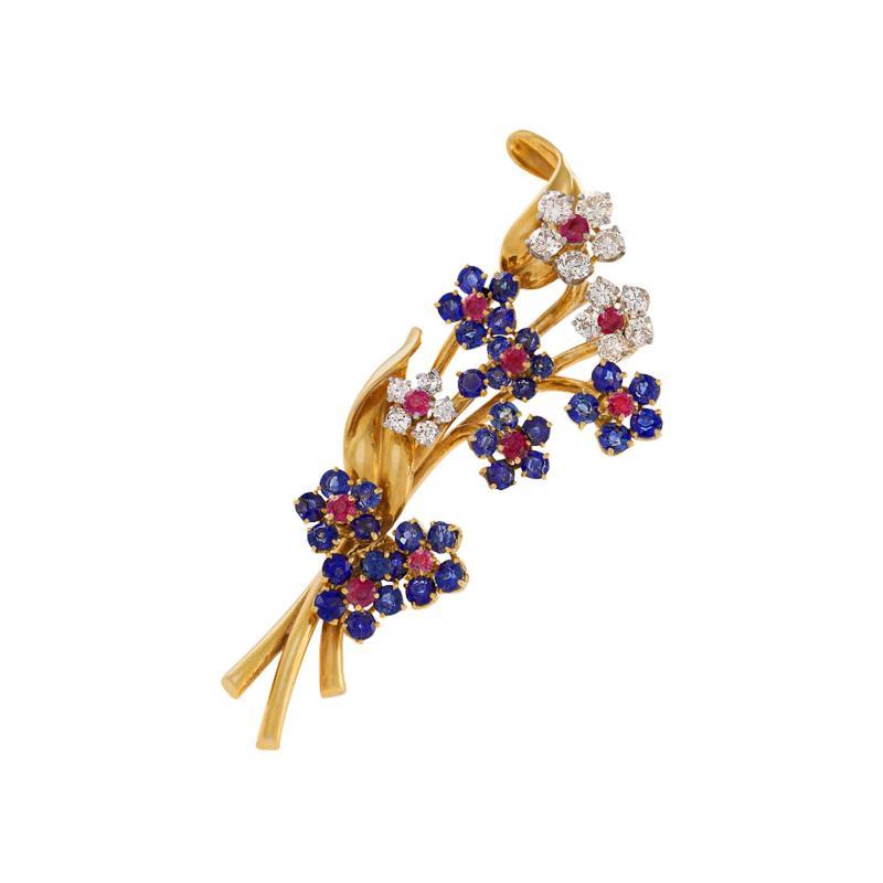 Van Cleef Arpels Van Cleef Arpels Mid Century Diamond Ruby Sapphire and Gold Hawaii Brooch