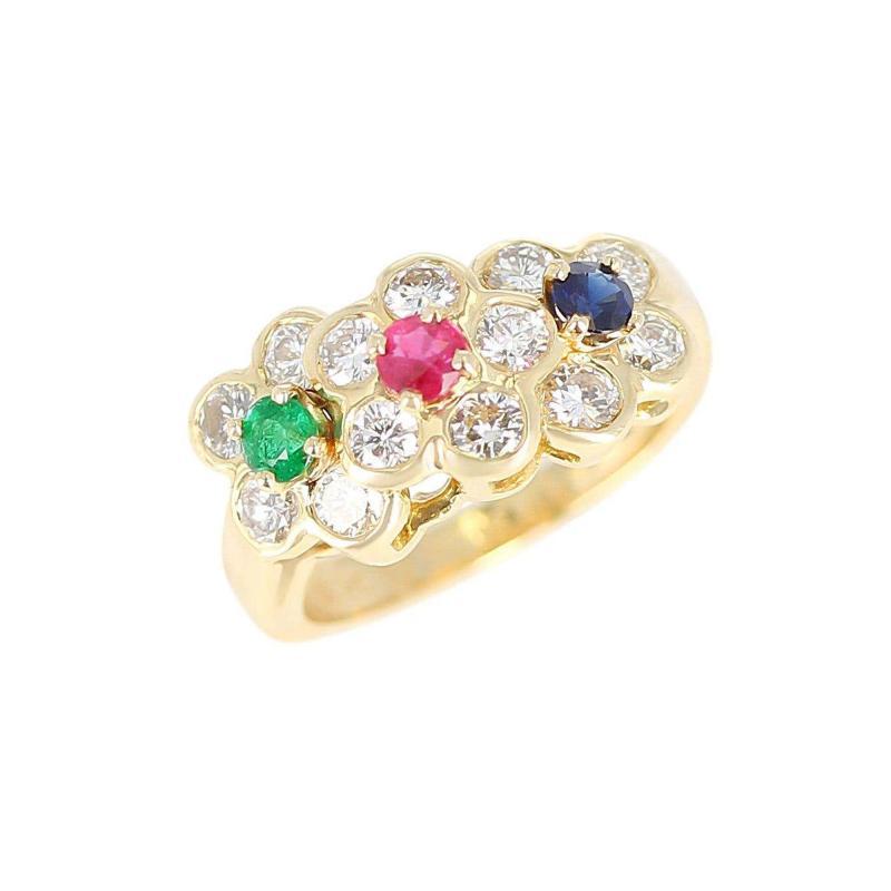 Van Cleef Arpels Van Cleef Arpels Tri Floral Emerald Ruby Sapphire and Diamond Ring Org Box