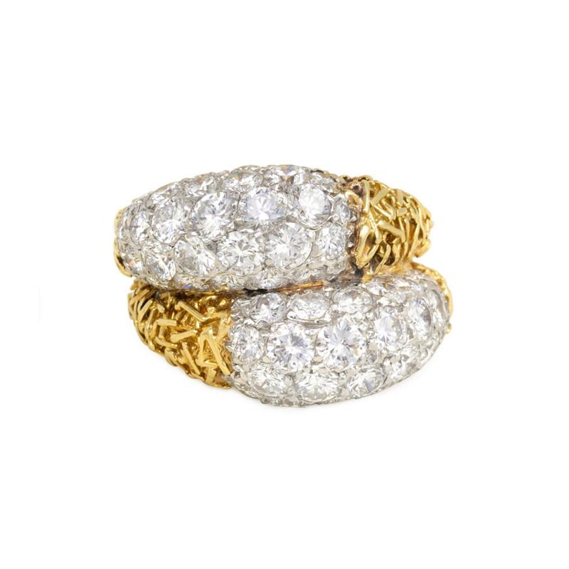 Van Cleef Arpels Van Cleef and Arpels France Estate Gold and Diamond Double Bomb Ring