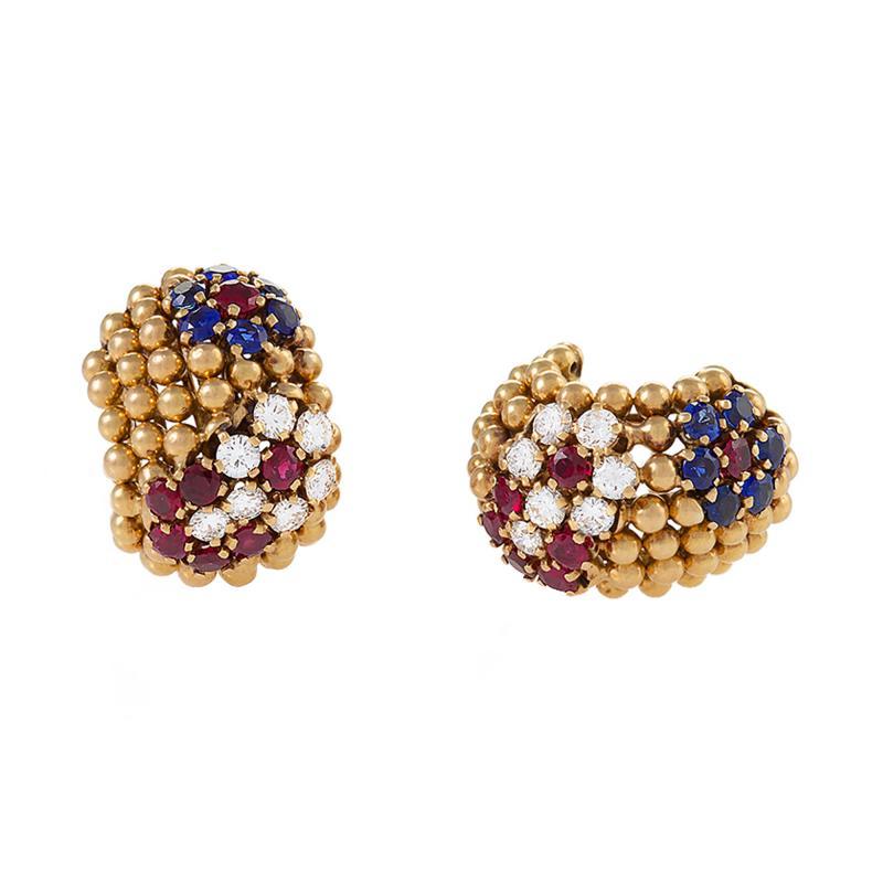 Van Cleef Arpels Van Cleef and Arpels Ruby Sapphire and Diamond Earrings