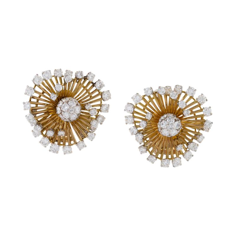 Van Cleef Arpels White and Yellow Gold Earrings with Diamonds by Van Cleef Arpels