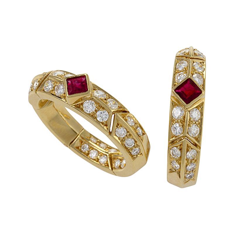 Van Cleef and Arpels Gold Ruby and Diamond Earrings by Van Cleef Arpels