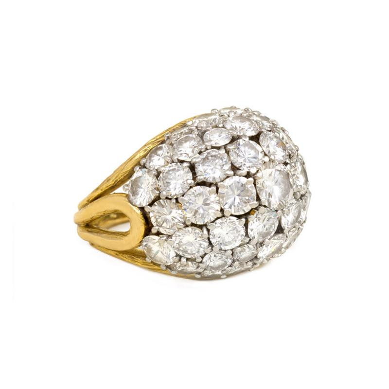 Van Cleef and Arpels Van Cleef Arpels 1960s Gold and Diamond Bomb Style Ring