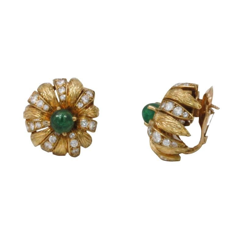 Van Cleef and Arpels Van Cleef Arpels Paris Cabochon Emerald Earrings