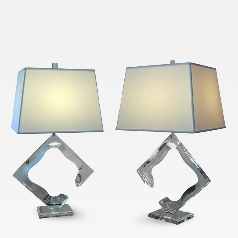 Van Teal Pair of Van Teal Lucite Lamps