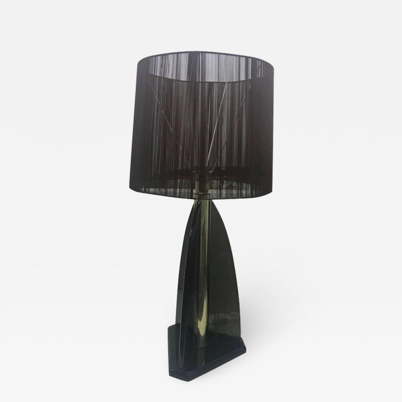 Van Teal Vintage Smoked Lucite Table Lamp by Van Teal