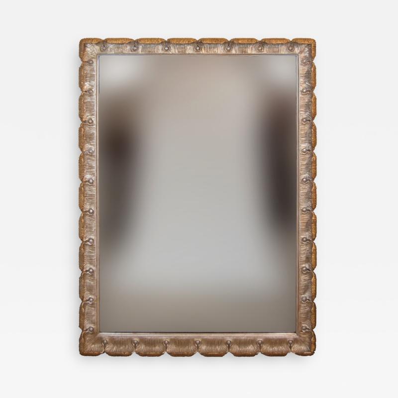 Venesta Gold Silver Gilt Scalloped Hollywood Regency Mirror