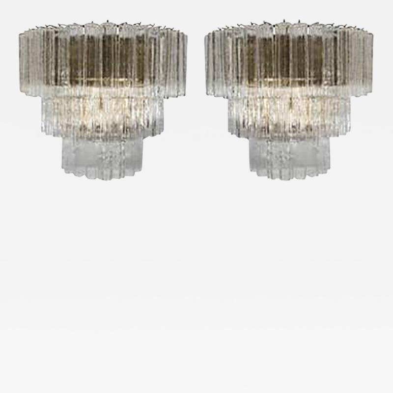Venini Amazing Pair of Venini Monumental Triple Tier Tronchi Murano Glass Sconces