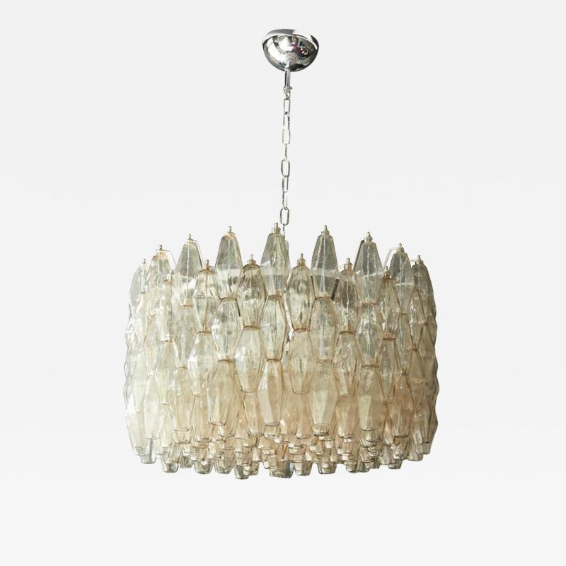 Venini Huge Polyhedral Murano Glass Drum Chandelier in the Manner of Venini