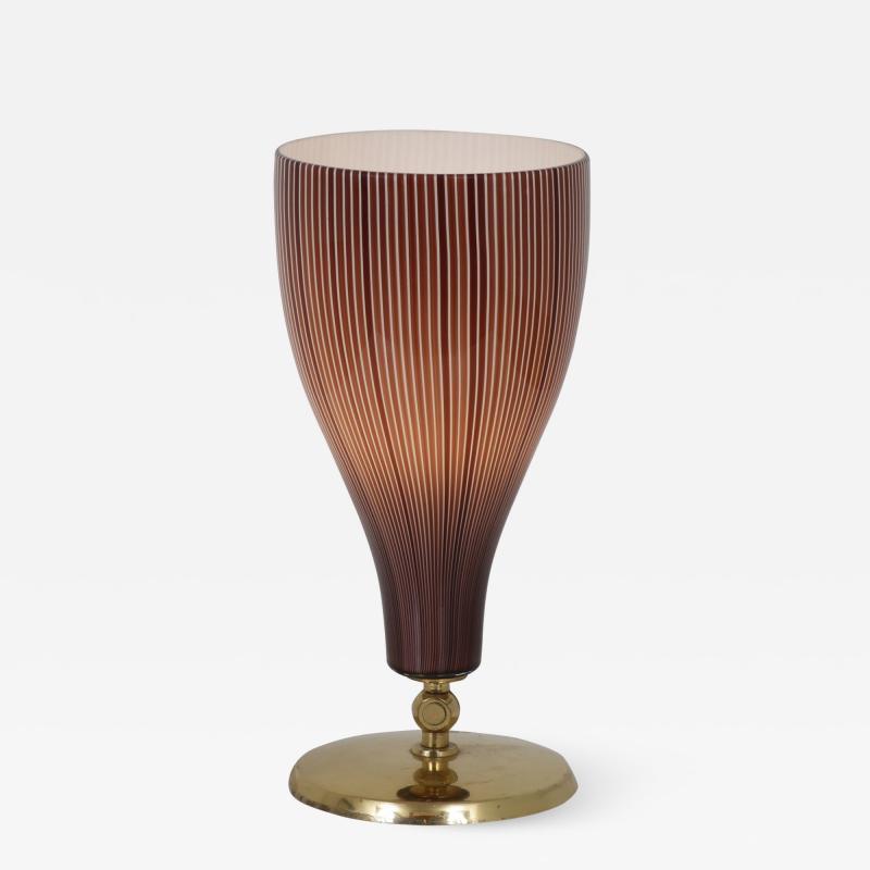 Venini Italian Table Lamp in Brass and Glass by Venini Italy 1950