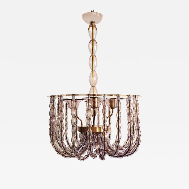 Venini Large Lilac Murano Glass Chandelier Mid Century Modern Venini Style 1960s