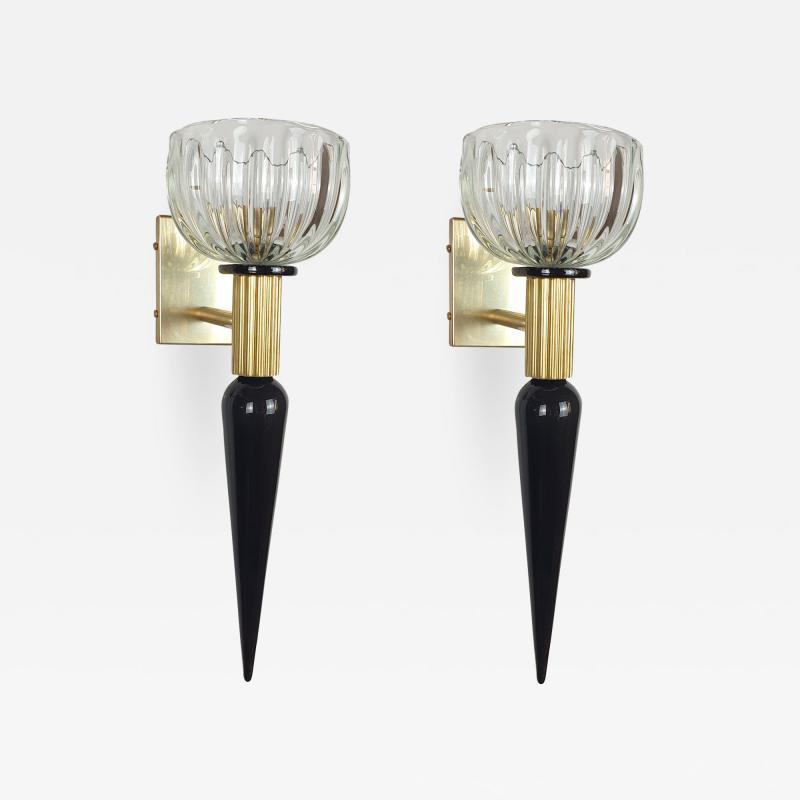 Venini Large Mid Century Modern Murano glass brass sconces Venini style Italy 1960s