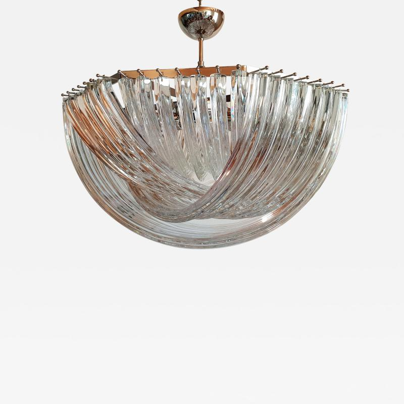Venini Large Mid Century Modern Triedri Venini chandelier clear glass 2 available