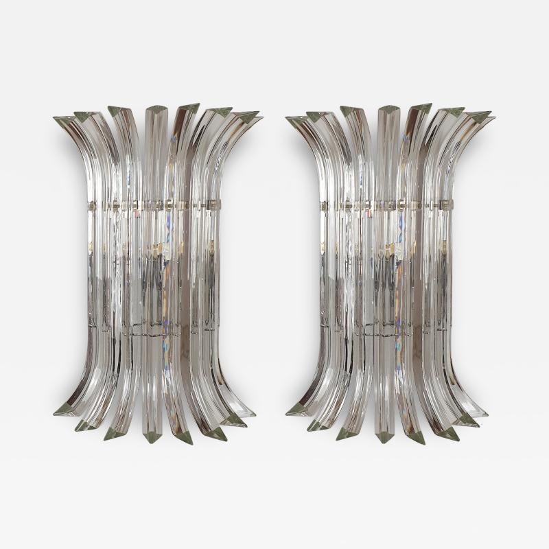 Venini Mid Century Modern Large clear Murano glass chrome sconces by Venini Italy