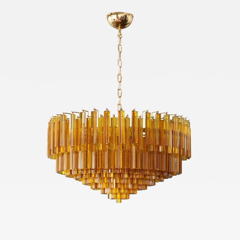 Venini Monumental Amber Murano Glass Chandelier or Flush Mount Attributed to Venini