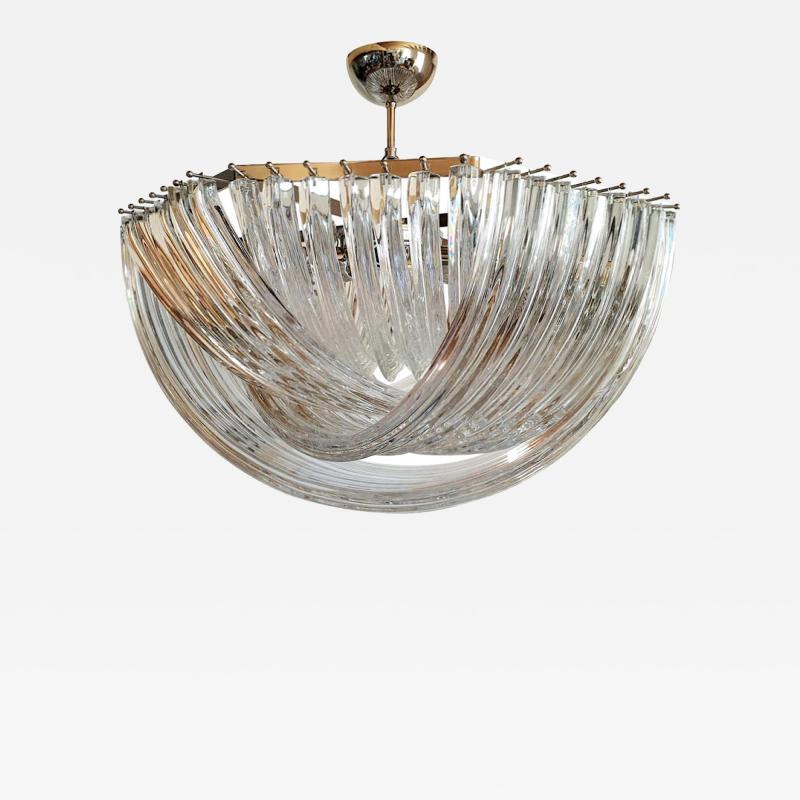 Venini Octogonal Mid Century Modern Clear Murano Glass Chandelier by Venini Italy 80s