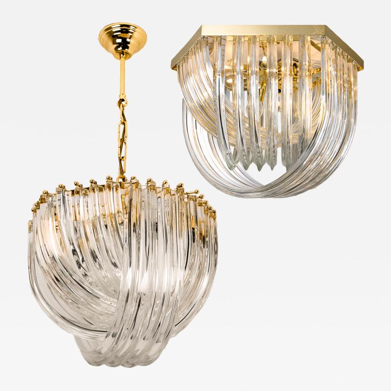Venini Pair Of Impressive Venini Light Fixtures Curved Crystal Glass and Gilt Brass