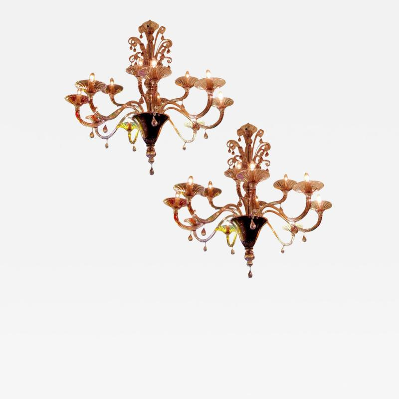 Venini Pair of 1970s chandeliers in amethyst blown glass by Venini