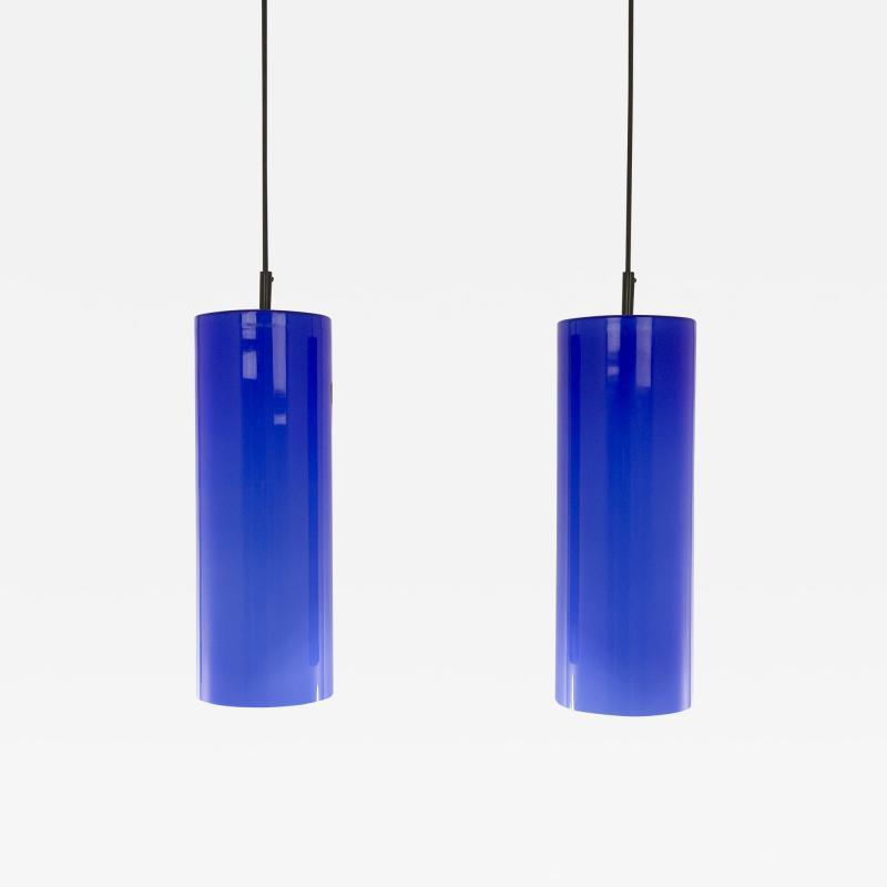 Venini Pair of Cobalt blue Murano glass pendants by Venini 1950s