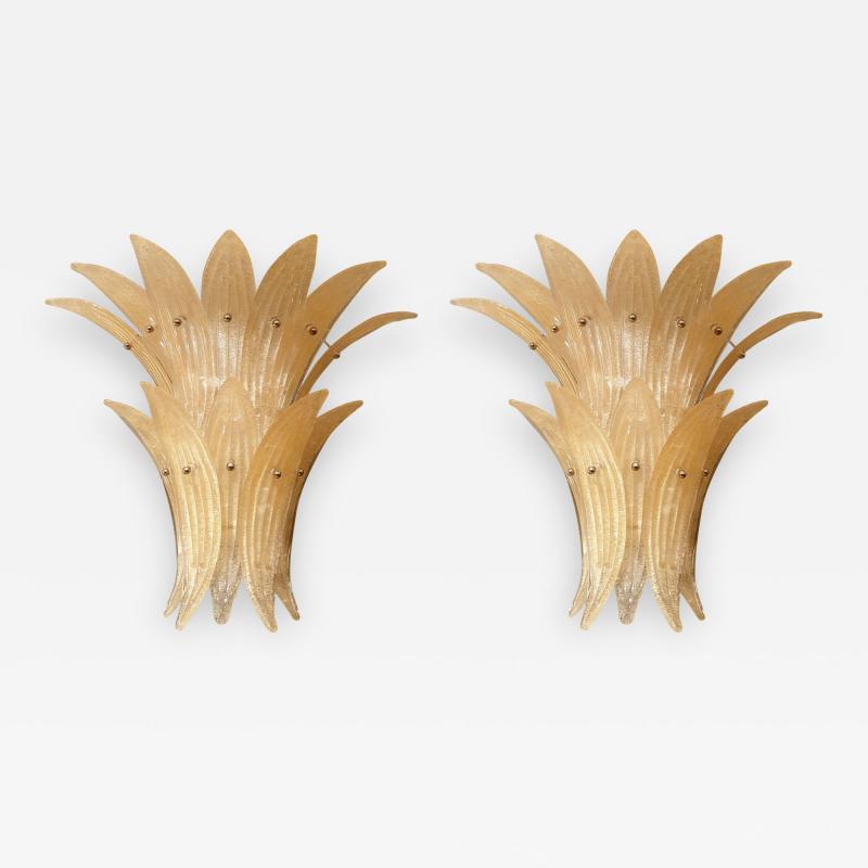 Venini Pair of Mid Century Modern Beige Murano glass Pineapple sconces by Venini 1970s