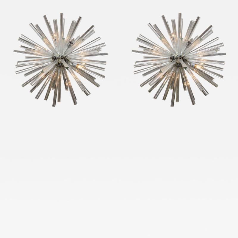 Venini Pair of Monumental Glass and Polished Chrome Chandeliers Venini