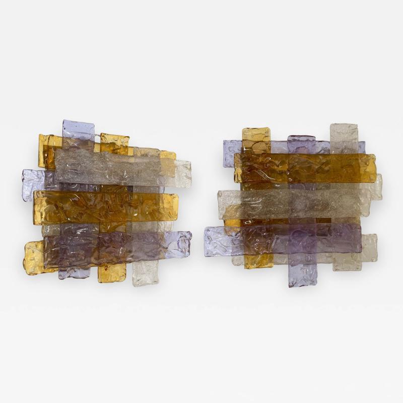 Venini Pair of Murano Glass Sconces by Venini Italy 1970s