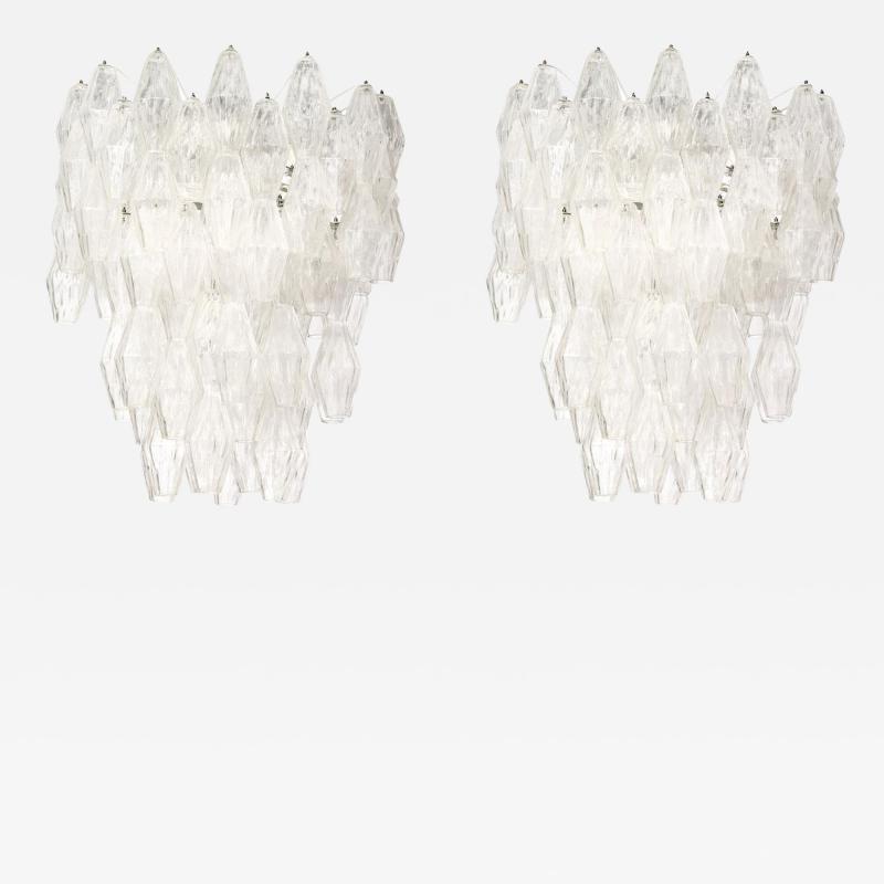 Venini Pair of Poliedri Hanging Fixture by Venini