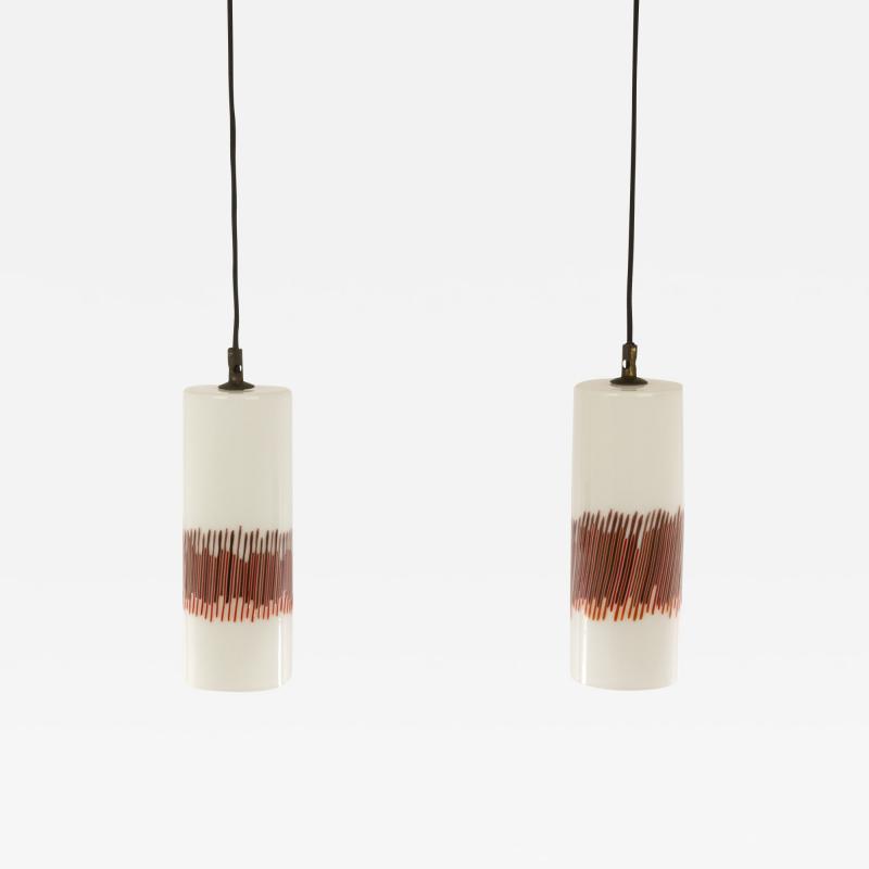 Venini Pair of Red Striped Glass Pendants by Massimo Vignelli for Venini 1950s