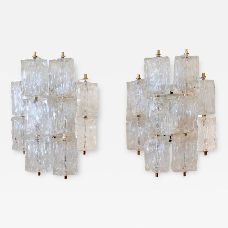 Venini Pair of Venini Glass Wall Sconces