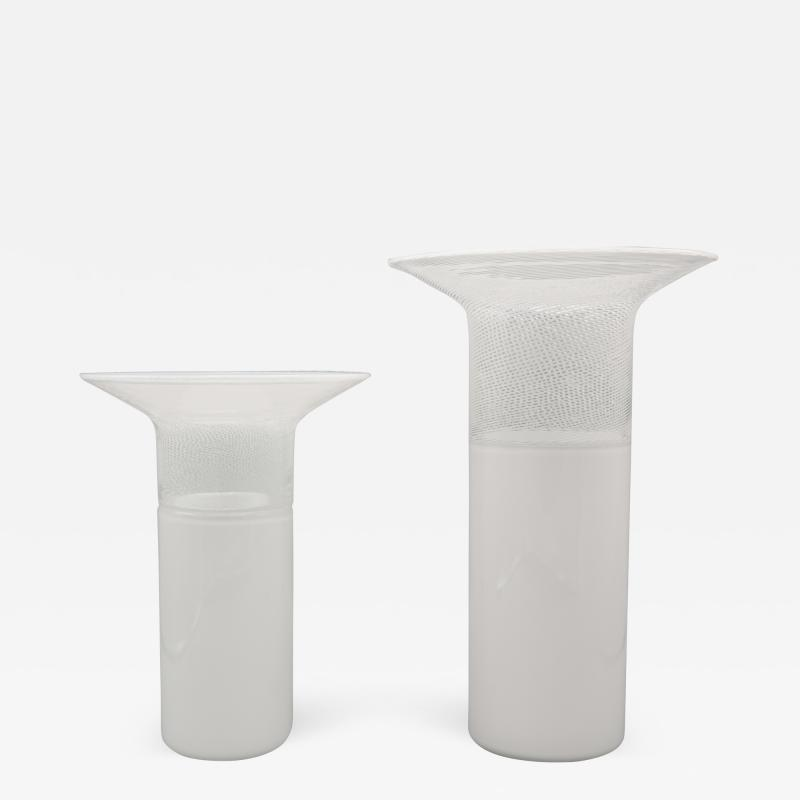 Venini Pair of Venini Murano Art Glass Vases