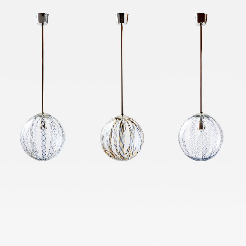 Venini Three Venini Blown Glass Lanterns 1950s
