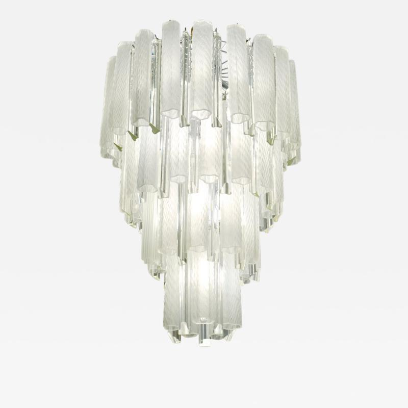 Venini Venini 1960s Cylinder Crystal and White Murano Glass Round Chandelier on Nickel