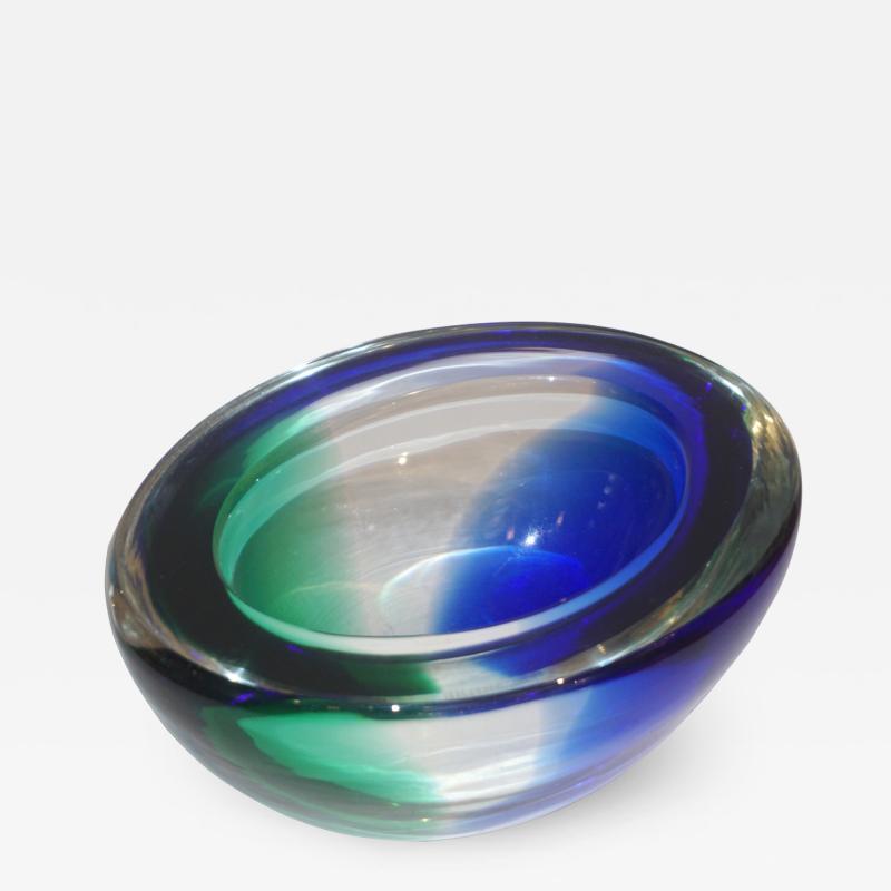 Venini Venini 1970s Italian Murano Glass Geometric Oval Blue Green Murano Glass Bowl