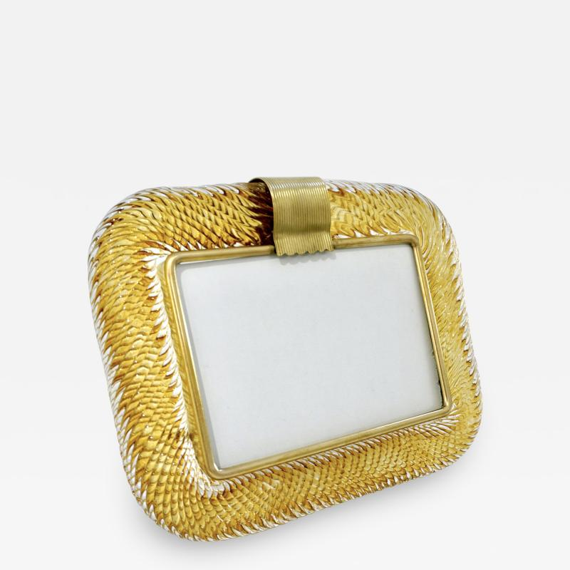 Venini Venini 1980s Italian Vintage Amber Gold Murano Glass and Brass Photo Frame